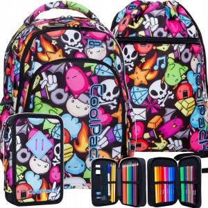 Školský batoh pre dievčatá s motívom postavičiek v mega trojčlennej sade