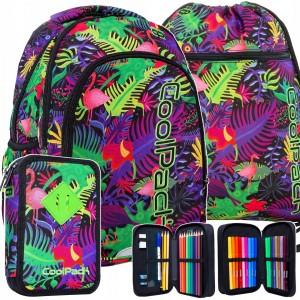 Originálny trojsadový školský batoh pre dievčatá s peračníkom a vakom