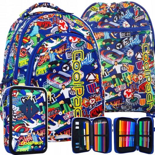 Štýlový školský batoch pre stredoškolákov v sade s peračníkom a vakom