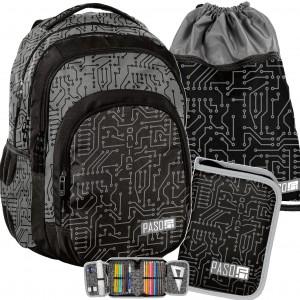 Chlapčenský čierno sivý batoh do školy v mega trojčlennej sade
