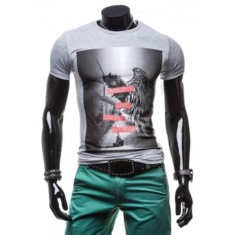 3f3a44cff2f5 Pánske tričko sivej farby s potlačou ANGELS LIVE ON THE WORLD ...