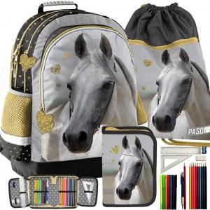 Módny školský batoh pre dievčatá v kombinácii s vakom a peračníkom
