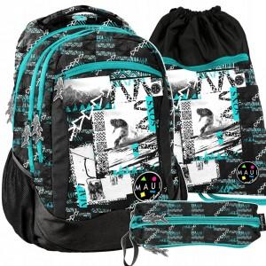 Školský batoh v trojčlennej sade pre chlapcov s motívom snowboardu