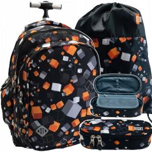 Školský batoh na kolieskach s peračníkom a vakom s trendy potlačou