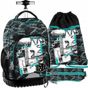 Školský batoh na kolieskach pre chlapcov v sade s peračníkom a vakom