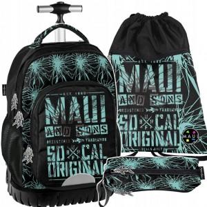 Kvalitný školský batoh na kolieskach v sade s peračníkom a vakom