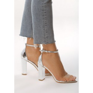 VEĽKOSŤ 41 Strieborné sandále s plnou pätou a viazaním na remienok