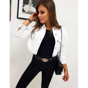 Štýlová biela dámska rifľová bunda