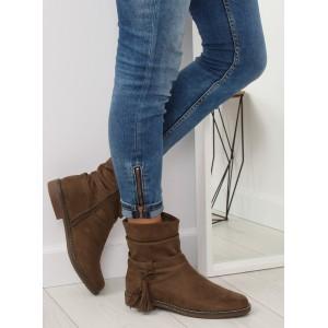 Hnedé dámske členkové topánky