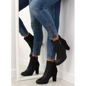 Jednoduché čierne dámske kotníkové topánky
