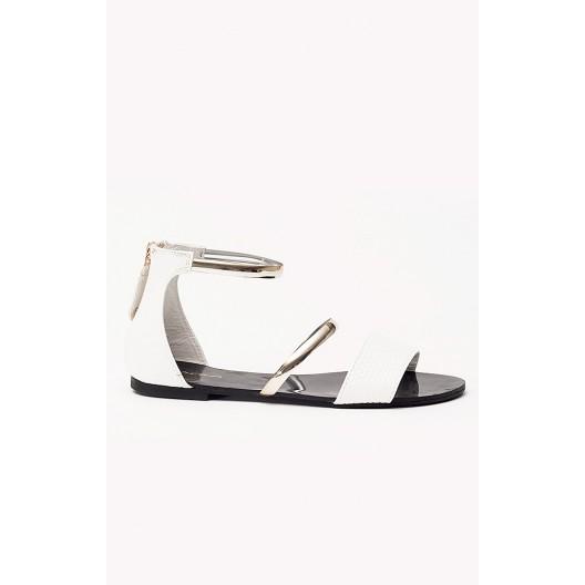 f7cee6c3fe Dámske sandále bielo čiernej farby s jemným nádychom zlata - fashionday.eu