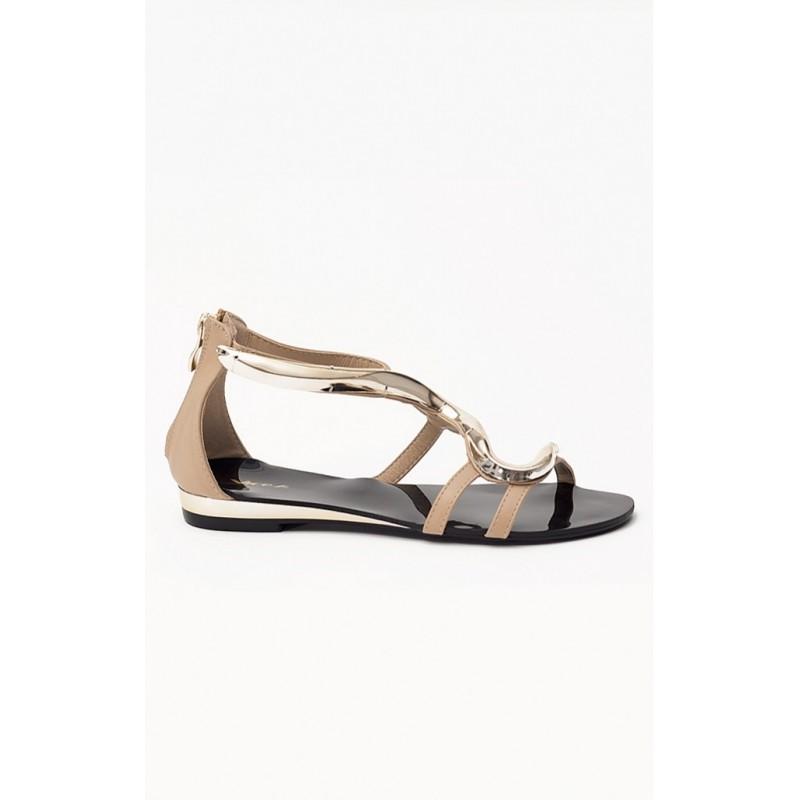 3f9fb6f739 Predchádzajúci. Dámske sandále béžovo čiernej farby ...