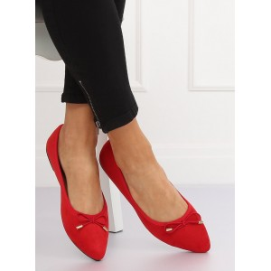 Semišové balerínky červenej farby s mašličkou