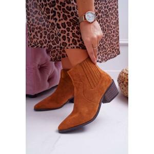 Jesenné dámske členkové topánky hnedej farby