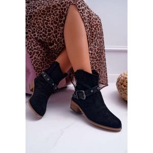 Čierne dámske kotníkové topánky so zapínaním na remienok