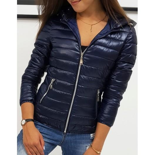 Tmavo modrá dámska prešívaná bunda na jeseň