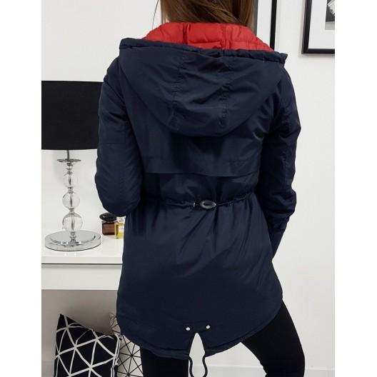 Tmavo modrá dámska prechodná bunda s kapučnou