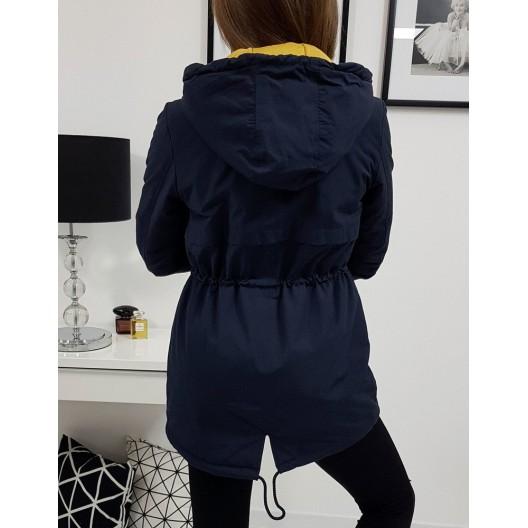 Dámska prechodná bunda na jeseň tmavo modrej farby