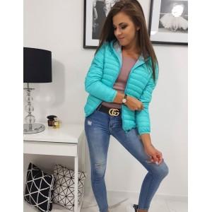 Trendová dámska prechodná bunda tyrkysovej farby