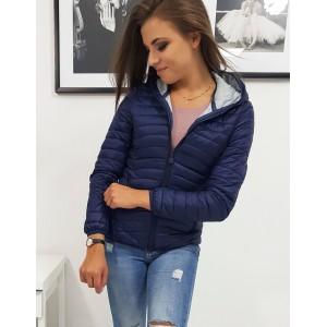 Moderná dámska jesenná bunda tmavo modrej farby s prešívaním