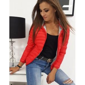 Červená dámska jesenná bunda s kapucňou