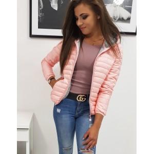 Elegantná dámska jesenná bunda ružovej farby