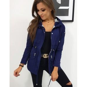 Tmavo modrá dámska prechodná bunda s pohodlným strihom