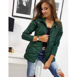 Zelená dámska jesenná bunda s odnímateľnou kapucňou