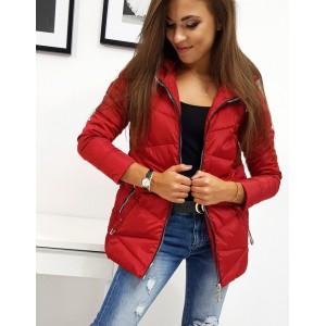 Trendová dámska jesenná bunda červenej farby