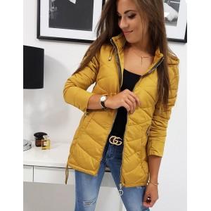 Štýlová dámska bunda s prešívaním a kapucňou v žltej farbe