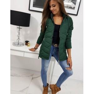 Prechodná dámska bunda s odnímateľnou kapucňou zelenej farby