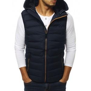 Tmavo modrá pánska športová vesta s kapucňou