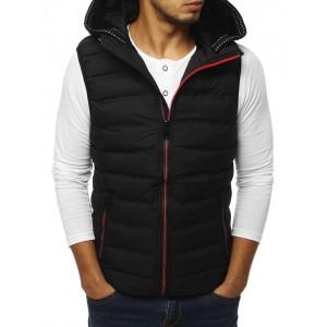 Trendová pánska vesta s odnímateľnou kapucňou čiernej farby