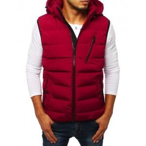 Červená pánska prešívaná vesta s kapucňou