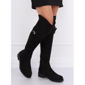 Moderné dámske semišové čižmy v čiernej farbe
