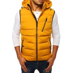Prešívaná pánska športová vesta žltej farby