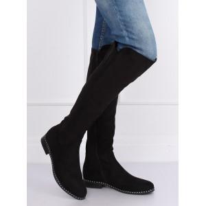 Nízke dámske čižmy v čiernej farbe