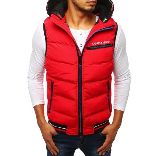 Červená pánska športová vesta s čiernou kapucňou