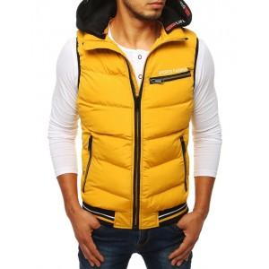 Štýlová pánska vesta žltej farby s kapucňou