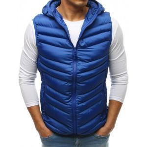 Pánska prešívaná vesta s kapucňou modrej farby
