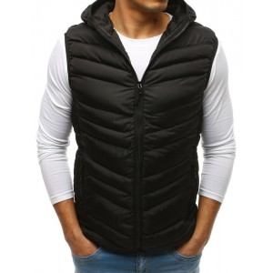 Čierna pánska športová vesta s kapucňou