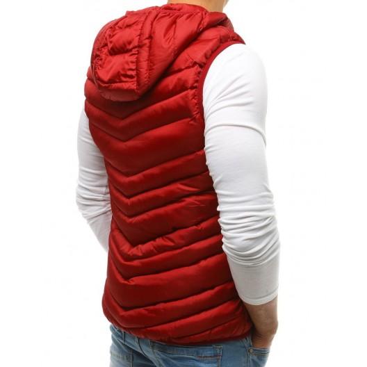Prešívaná pánska vesta bordovej farby s kapucňou a vreckami