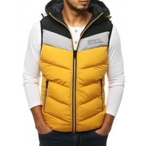 Žltá pánska športová vesta s kapucňou