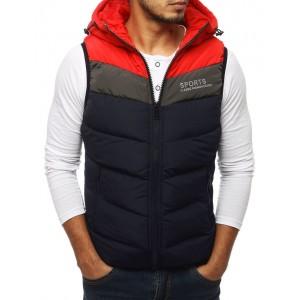 Trendová pánska prešívaná vesta s kapucňou tmavo modrej farby