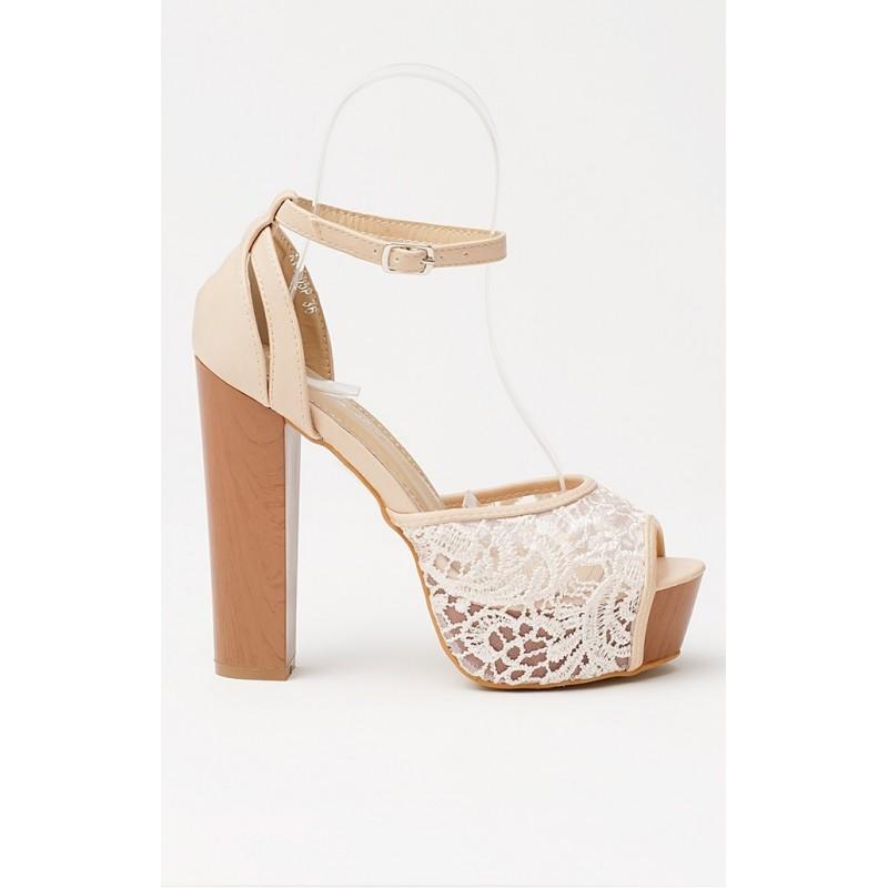 ef5b3e4689 Predchádzajúci. Dámske sandále béžovej farby s otvorenou špičkou na  platforme ...