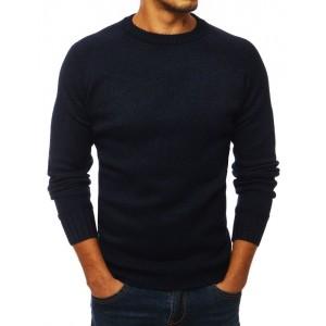 Pánsky sveter s ozdobnými záplatami na lakťoch tmavo modrej farby