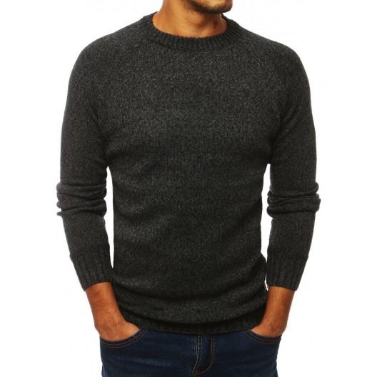 Klasický tmavo sivý pánsky sveter s okrúhlym výstrihom