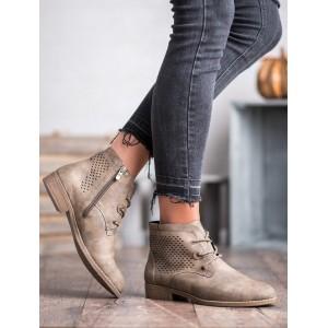 Kožené dámske členkové topánky v hnedej farbe