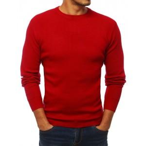 Klasický pánsky pulóver s okrúhlym výstrihom červenej farby