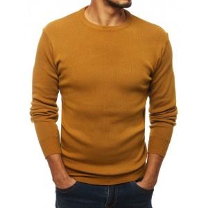 Klasický žltý sveter s okrúhlym výstrihom pre pánov